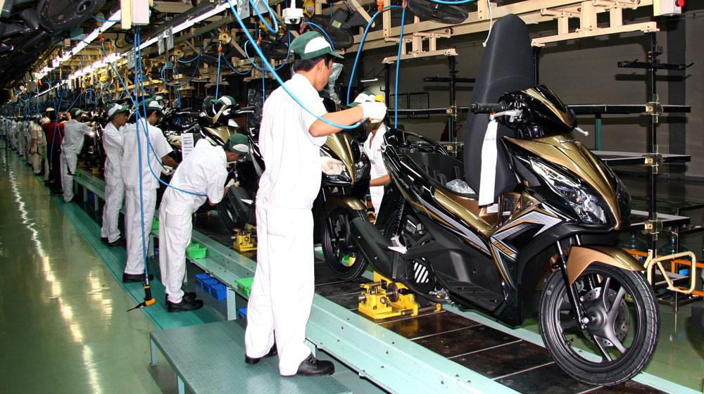 Dây chuyền sản xuất xe Honda tại Vĩnh Phúc, một thương hiệu đáp ứng được tiêu chí xuất xứ để hưởng ưu đãi khi xuất khẩu sang Nhật Bản, châu Âu và một số nước ASEAN